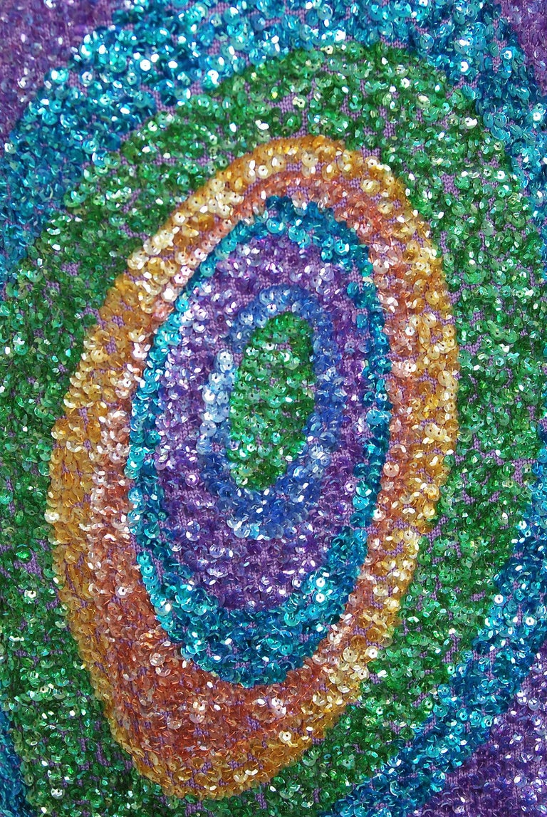 Vintage 1960's Gene Shelly Colorful Atomic Swirl Sequin Wool Knit Hourglass Gown For Sale 3