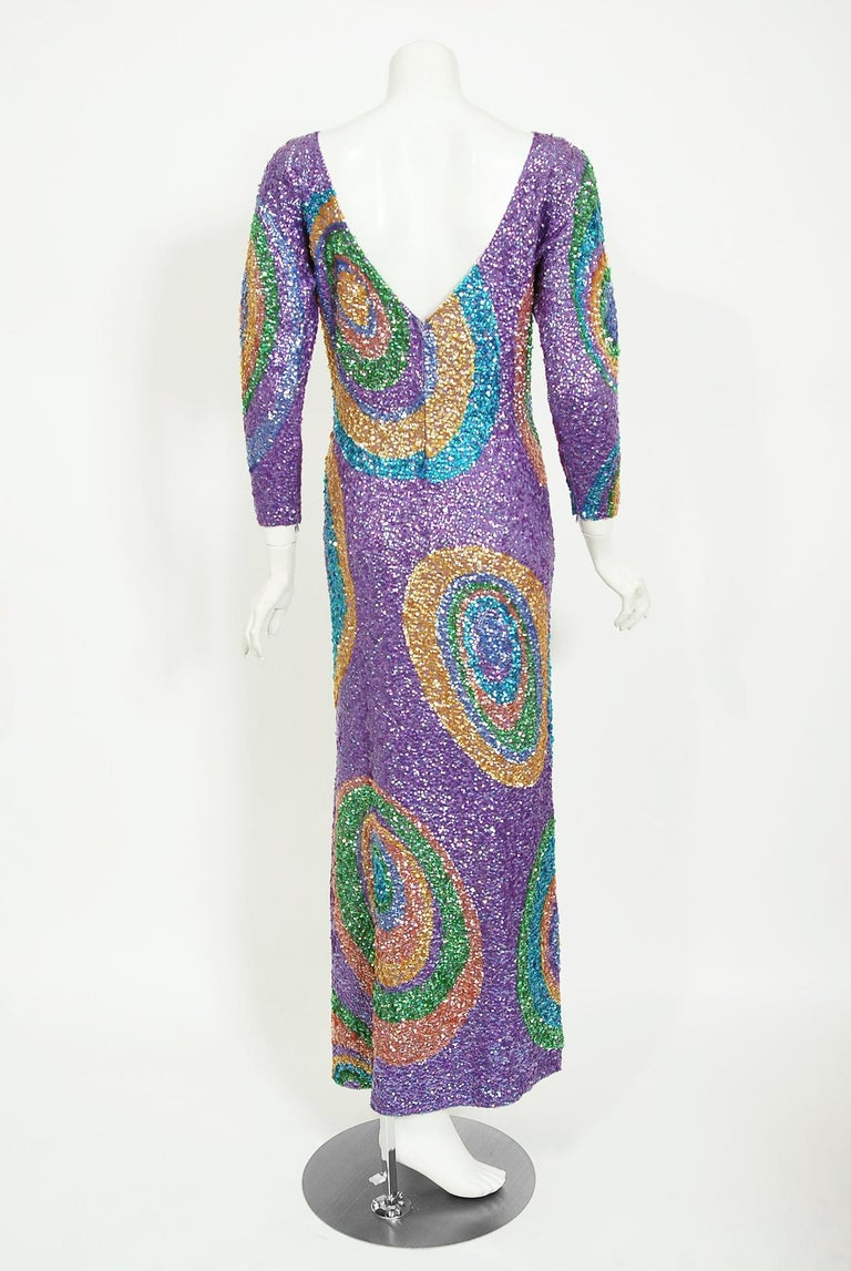 Vintage 1960's Gene Shelly Colorful Atomic Swirl Sequin Wool Knit Hourglass Gown For Sale 4
