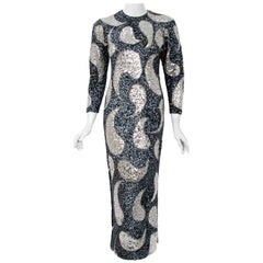 Vintage 1960's Gene Shelly Silver Sequin Beaded Wool Knit Hourglass Dress