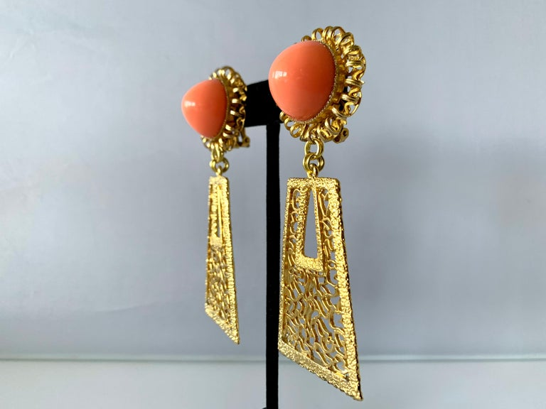 Contemporary Vintage 1960's Geometric Angel Skin Coral Gold Statement Earrings  For Sale