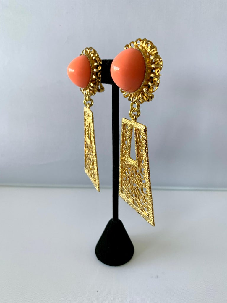 Cabochon Vintage 1960's Geometric Angel Skin Coral Gold Statement Earrings  For Sale