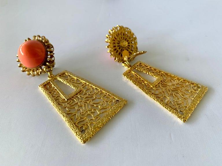 Women's Vintage 1960's Geometric Angel Skin Coral Gold Statement Earrings  For Sale