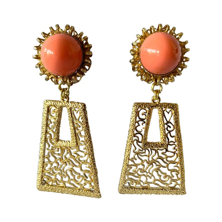 Vintage 1960's Geometric Angel Skin Coral Gold Statement Earrings  For Sale