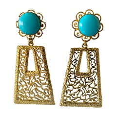 Vintage 1960's Geometric Turquoise Gold Statement Earrings