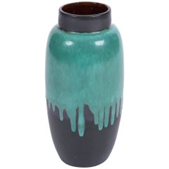 Vintage 1960s German Green Ceramic Vase with Paint Drip Effect