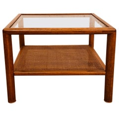 Vintage 1960s Glass Top and Caned Small Side Table