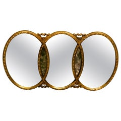 Vintage 1960s Gold Framed 3 Section Wall Mirror