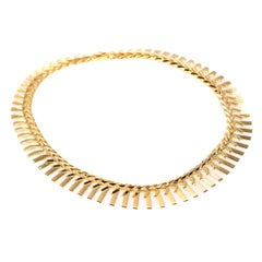 Vintage 1960s Gold Necklace with Links Resembling Sunlight Beams