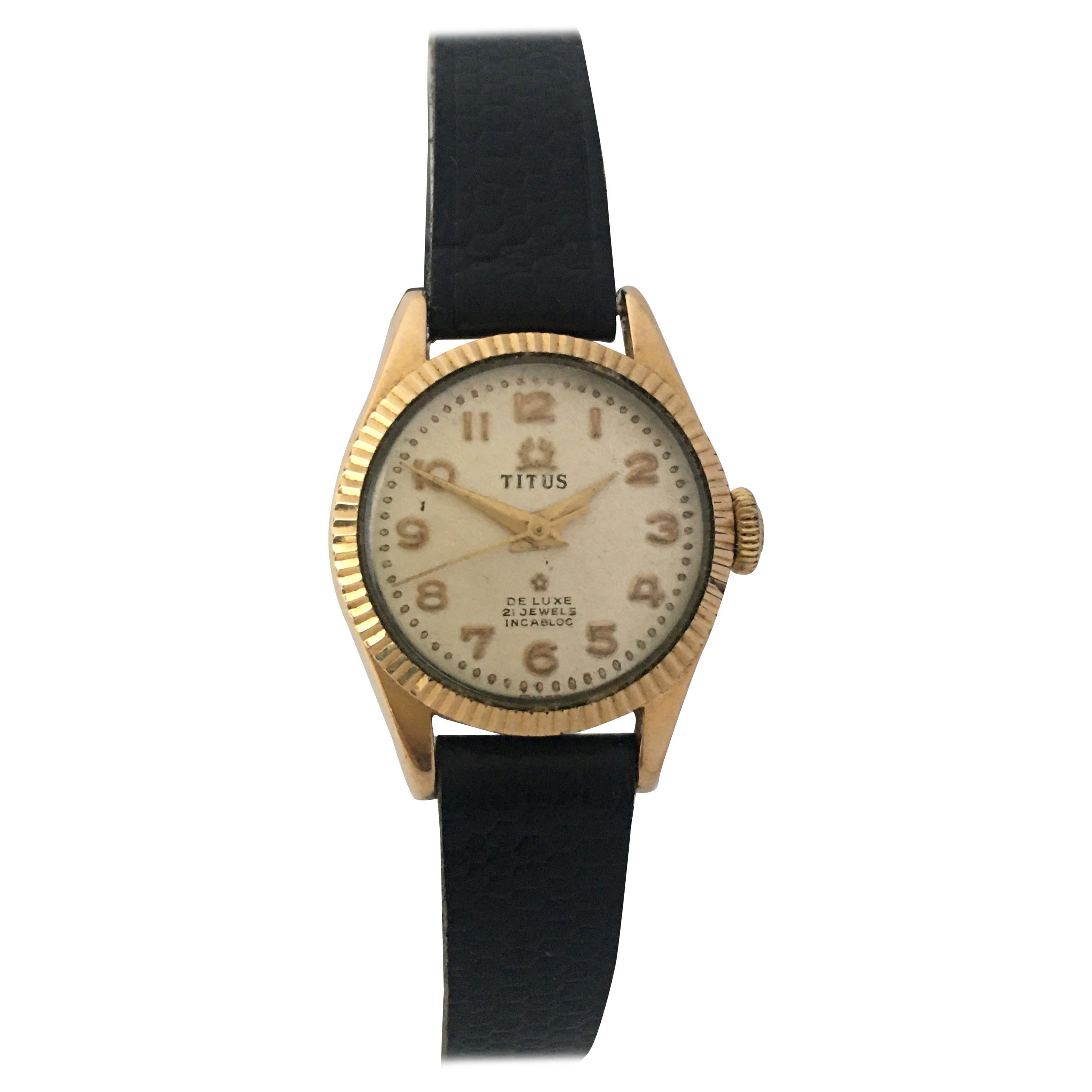 Vintage 1960s Gold Plate and Stainless Steel Back Titus Ladies Mechanical Watch