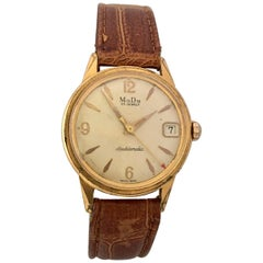 Vintage 1960s Gold Plate and Stainless Steel MuDu 25 Jewels Doublematic Watch