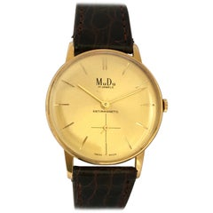 Vintage 1960s Gold-Plated and Stainless Steel Back Swiss Mechanical Watch