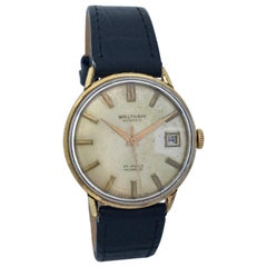 Vintage 1960s Gold-Plated and Stainless Steel Back Waltham Automatic Watch