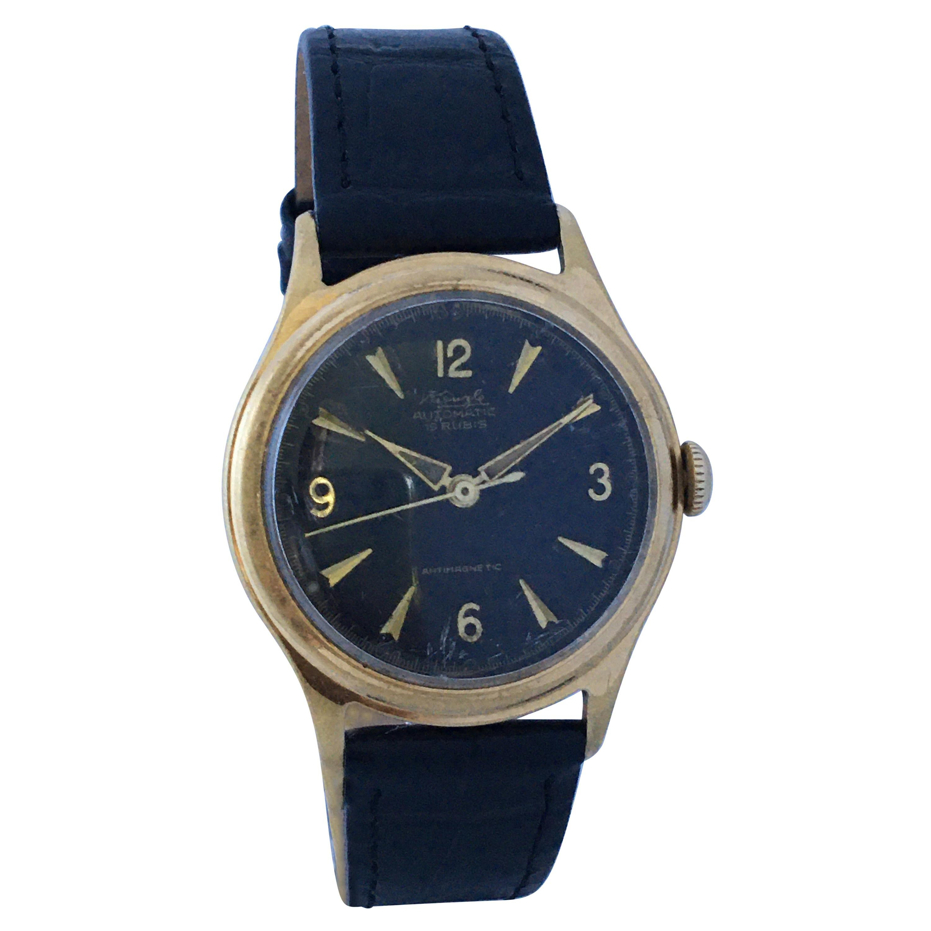 Vintage 1960s Gold-Plated and Stainless Steel Bubble Back Automatic Watch