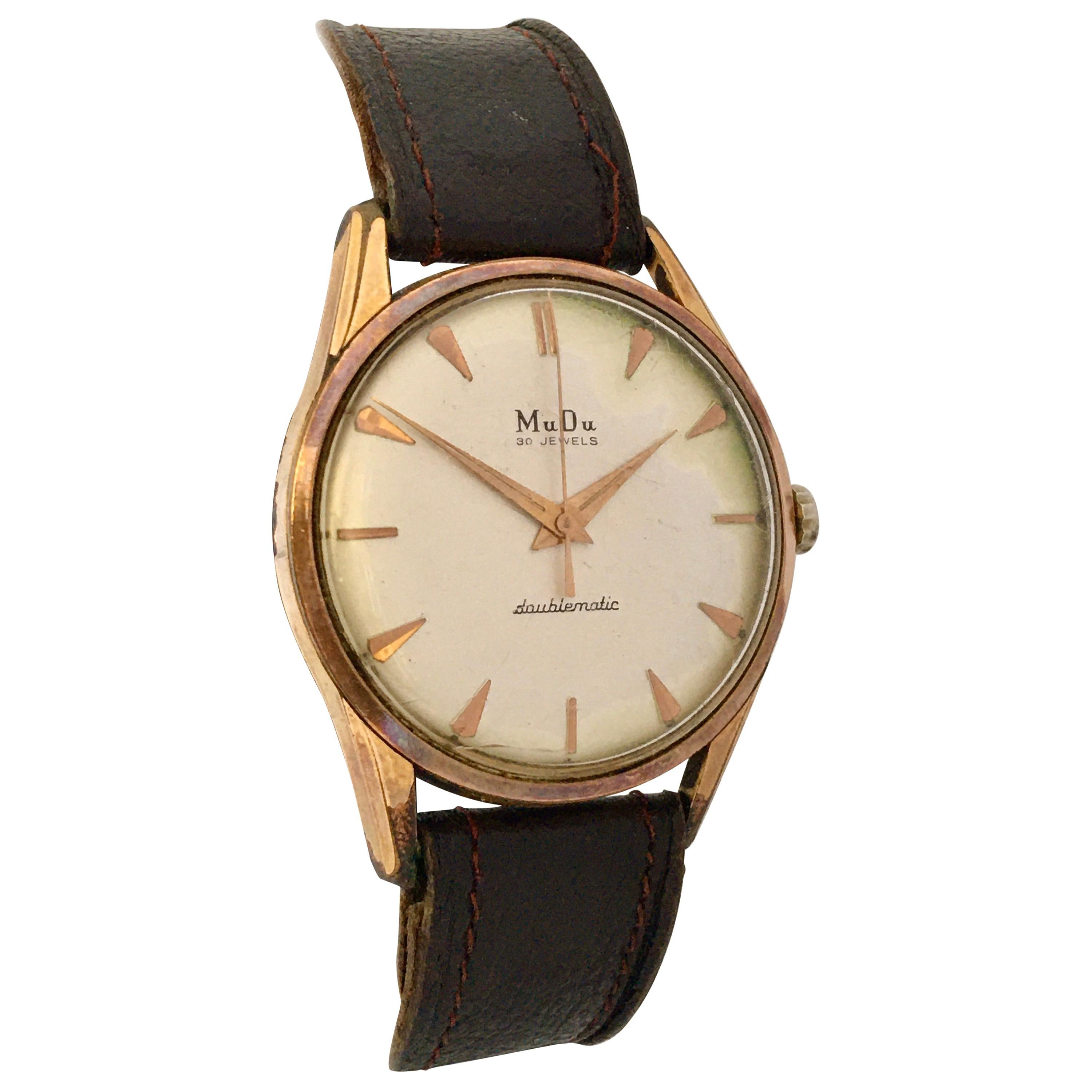 Vintage 1960s Gold-Plated Cap and Stainless Steel Back Swiss Automatic Watch