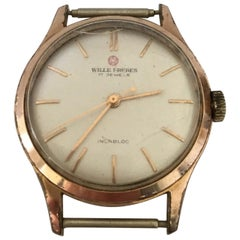 Vintage 1960s Gold-Plated Stainless Steel Back Wille Freres Manual Wristwatch
