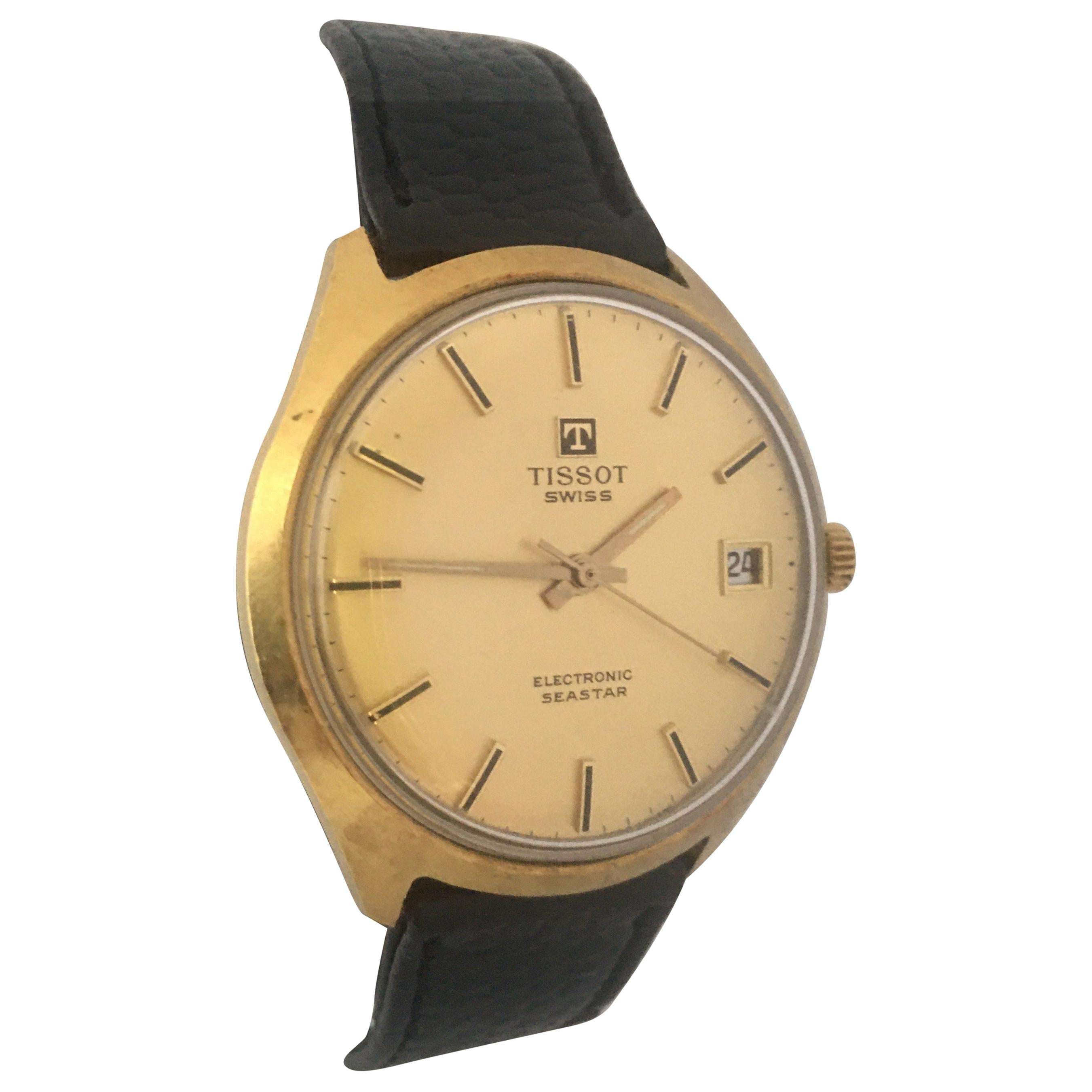 Vintage 1960s Gold-Plated TISSOT Electronic Seastar Watch