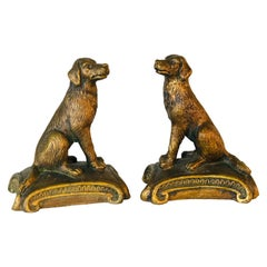 Vintage 1960s Gold Wood Sitting Dog Bookends, Pair