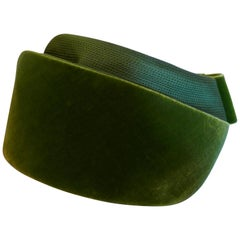 Vintage 1960s Green Satin and Velvet Pill Box Hat by Delores London and Paris