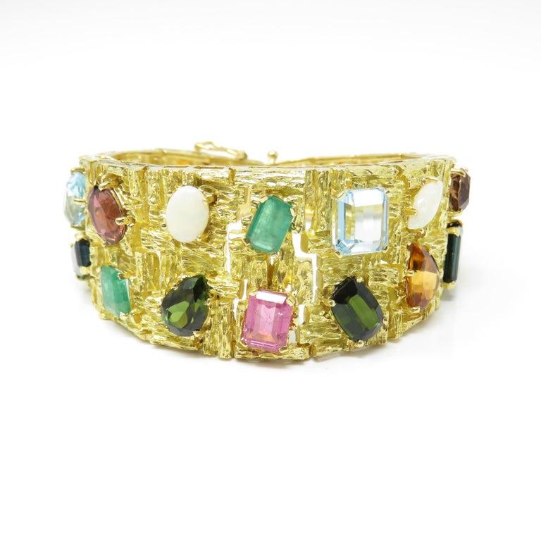 Retro Vintage 1960s H. Stern Heavy 18 Karat Emerald Aquamarine Gemstone Cuff Bracelet For Sale