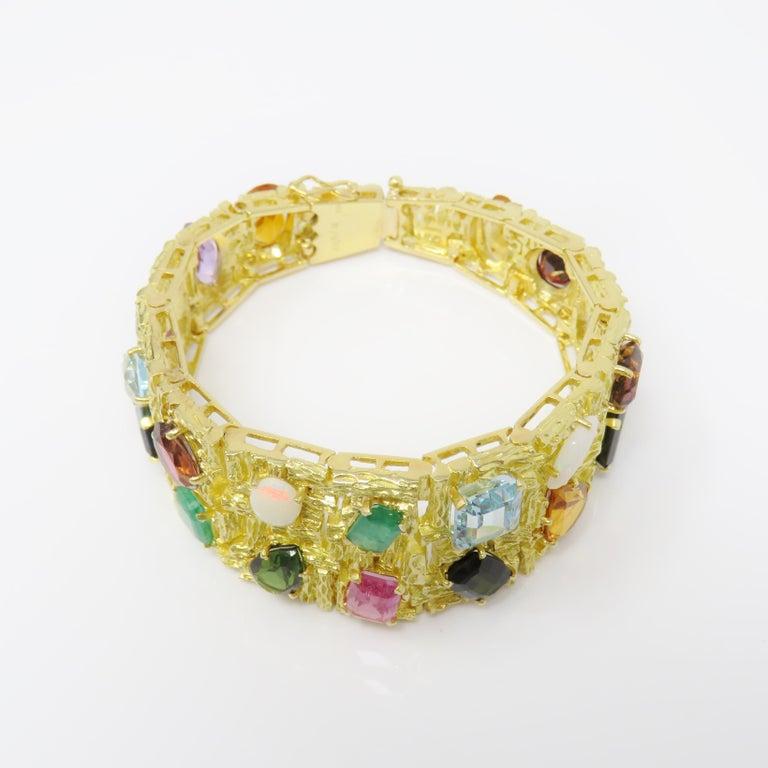Round Cut Vintage 1960s H. Stern Heavy 18 Karat Emerald Aquamarine Gemstone Cuff Bracelet For Sale