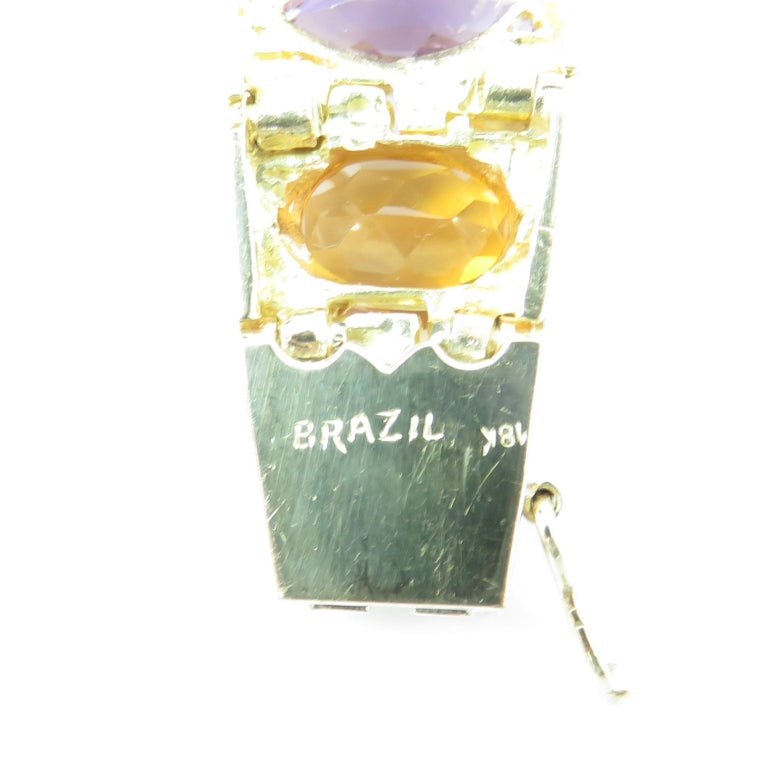 Women's Vintage 1960s H. Stern Heavy 18 Karat Emerald Aquamarine Gemstone Cuff Bracelet For Sale