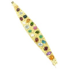 Vintage 1960s H. Stern Heavy 18 Karat Emerald Aquamarine Gemstone Cuff Bracelet