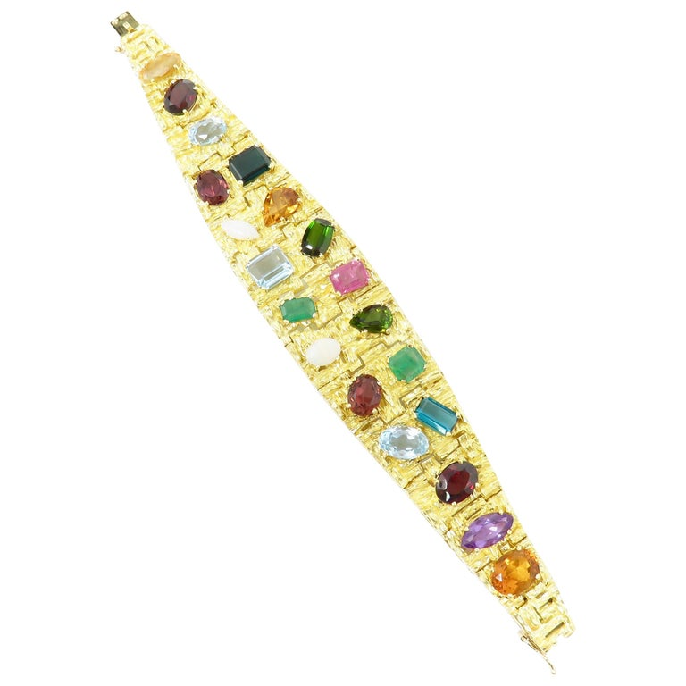 Vintage 1960s H. Stern Heavy 18 Karat Emerald Aquamarine Gemstone Cuff Bracelet For Sale