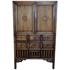 Vintage 1960s Hand-Carved Wooden Armoire from Taiwan with Doors and Drawers