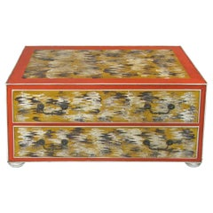 Vintage 1960s Hand Painted Metal Two-Drawer Chest
