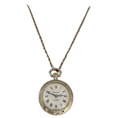 Vintage 1960s Hand-Winding Silver Plated Engraved Pendant Watch