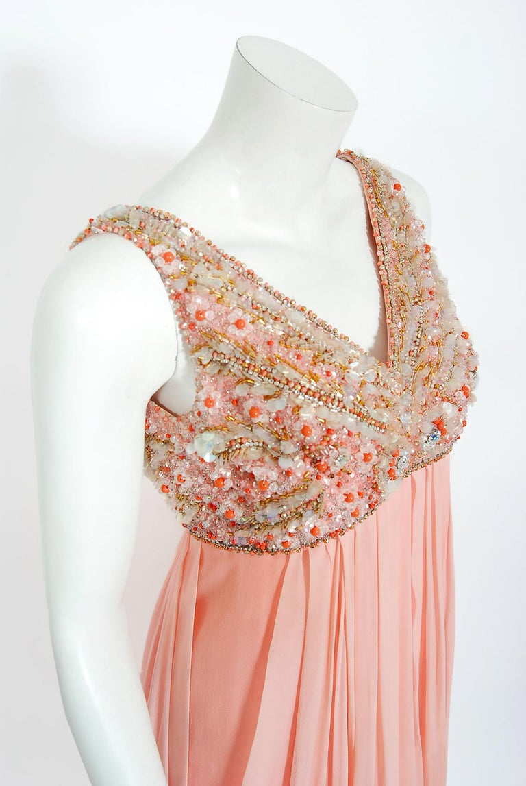 Beige Vintage 1960's Helen Rose Beaded Champagne Pink Silk-Chiffon Draped Goddess Gown For Sale