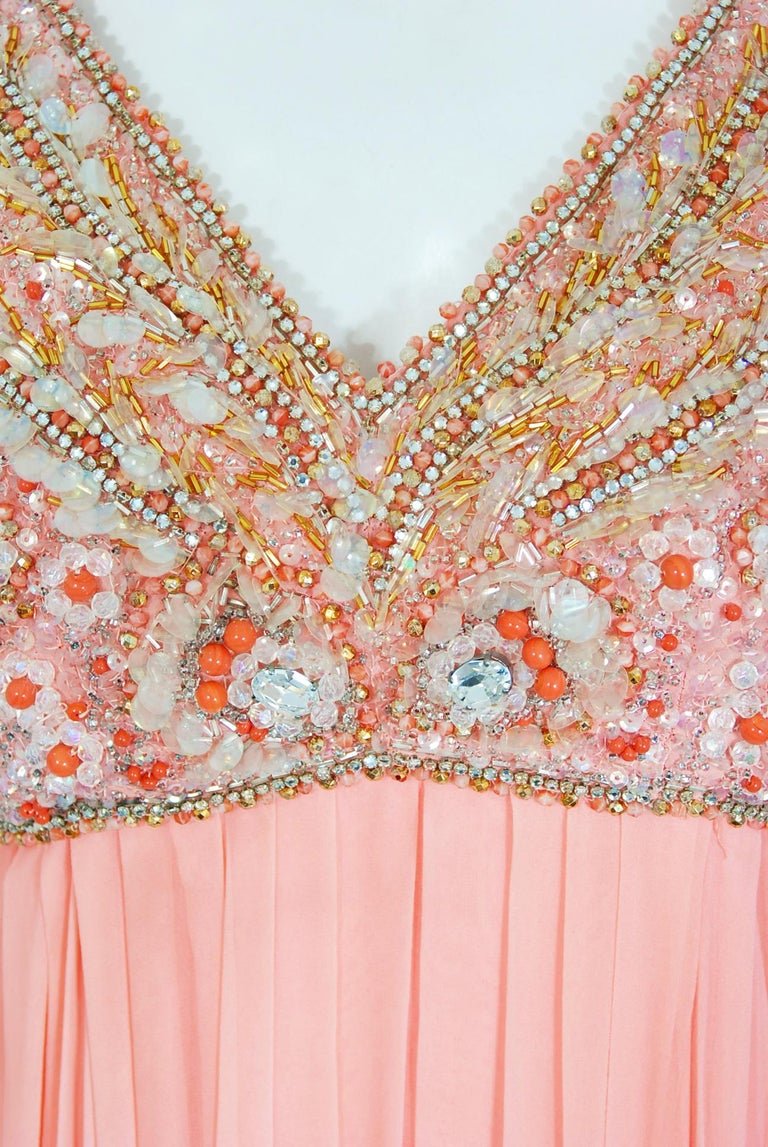 Vintage 1960's Helen Rose Beaded Champagne Pink Silk-Chiffon Draped Goddess Gown In Good Condition For Sale In Beverly Hills, CA