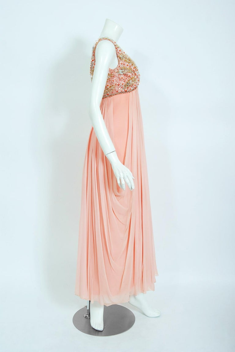 Vintage 1960's Helen Rose Beaded Champagne Pink Silk-Chiffon Draped Goddess Gown For Sale 1