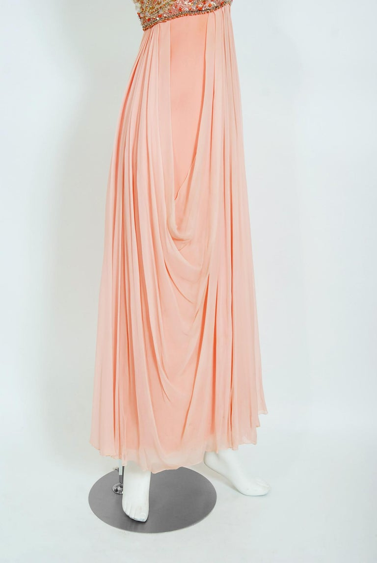 Vintage 1960's Helen Rose Beaded Champagne Pink Silk-Chiffon Draped Goddess Gown For Sale 2
