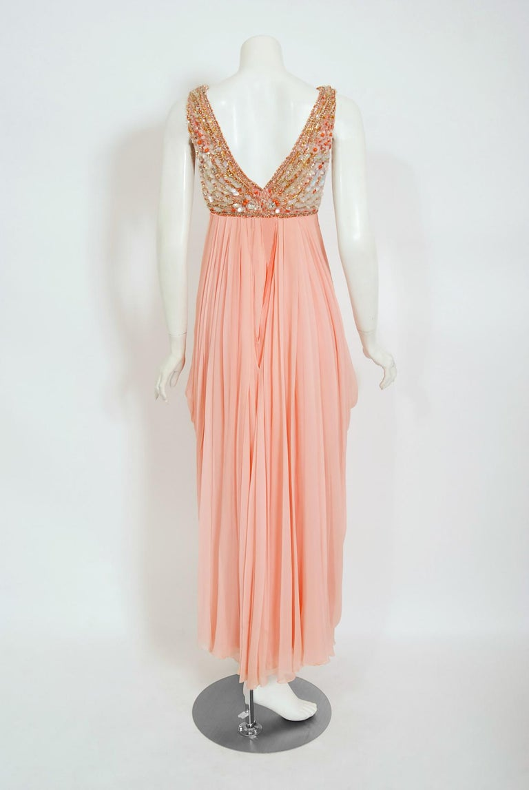 Vintage 1960's Helen Rose Beaded Champagne Pink Silk-Chiffon Draped Goddess Gown For Sale 3