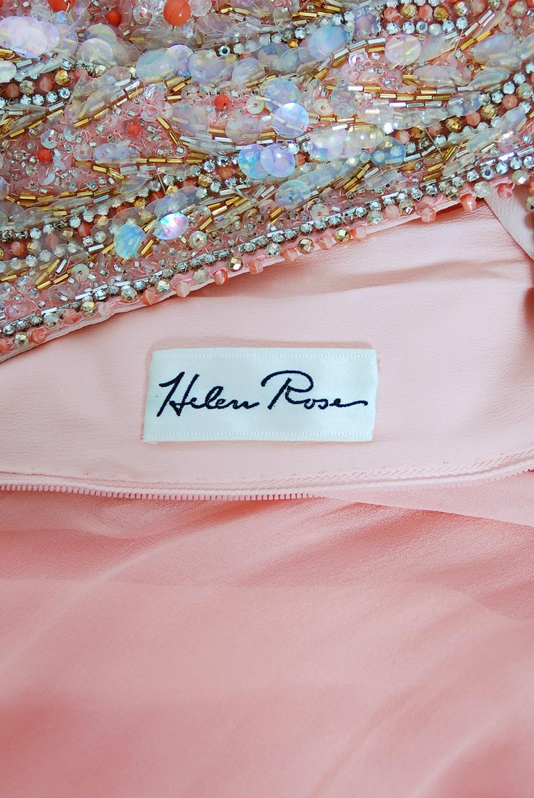 Vintage 1960's Helen Rose Beaded Champagne Pink Silk-Chiffon Draped Goddess Gown For Sale 4