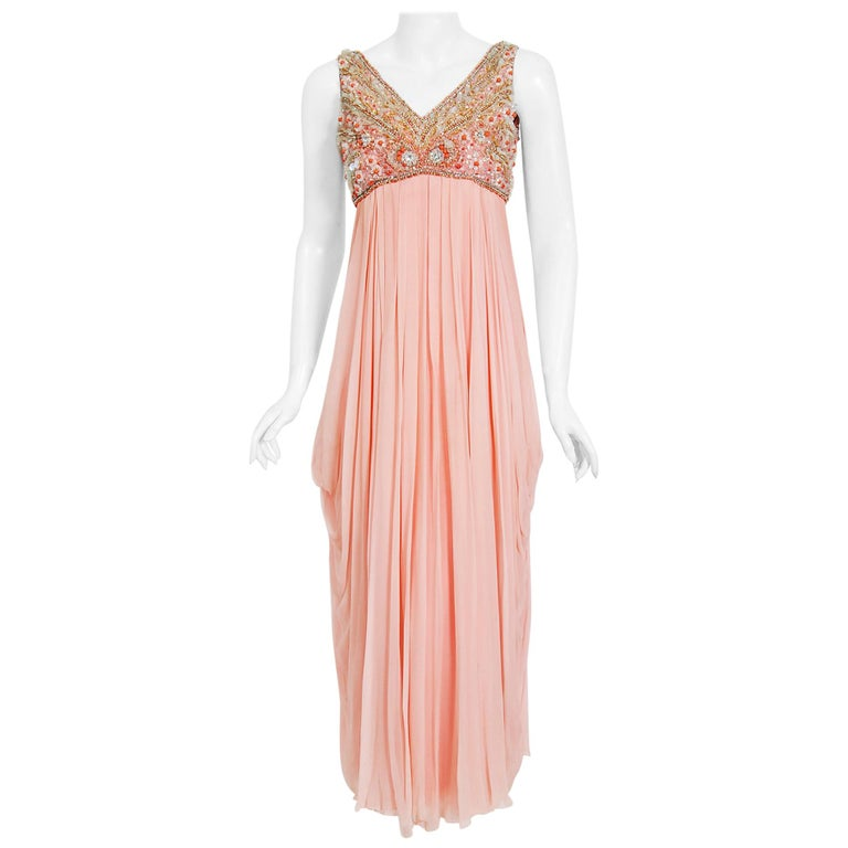 Vintage 1960's Helen Rose Beaded Champagne Pink Silk-Chiffon Draped Goddess Gown For Sale