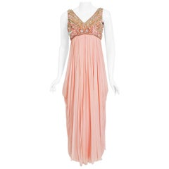 Vintage 1960's Helen Rose Beaded Champagne Pink Silk-Chiffon Draped Goddess Gown