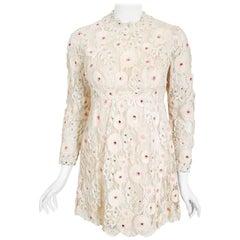 Vintage 1960's Henri Bendel Ivory & Pink Embroidered Lace Babydoll Mini Dress