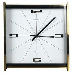 Vintage 1960s Hollywood Regency Brass Table Clock Europa Junghans, Germany