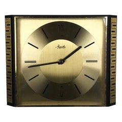 Vintage 1960s Hollywood Regency Brass Wall Clock Mauthe Electric, Germany