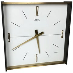 Vintage 1960s Hollywood Regency Brass Wall Table Clock Dugena Electric, Germany