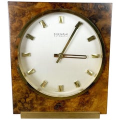 Vintage 1960s Hollywood Regency brass walnut Table Clock by Kienzle, Germany
