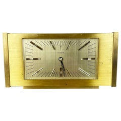 Vintage 1960s Hollywood Regency Solid Brass Table Clock Dugena, Switzerland