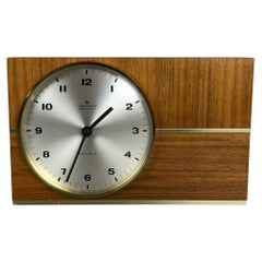 Vintage 1960s Hollywood Regency Teak Table Clock Junghans Electronic, Germany