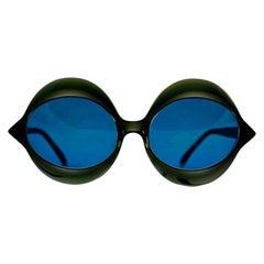 "Vintage 1960s Iconic PIERRE CARDIN ""KISS"" Black Oversized Sunglasses"