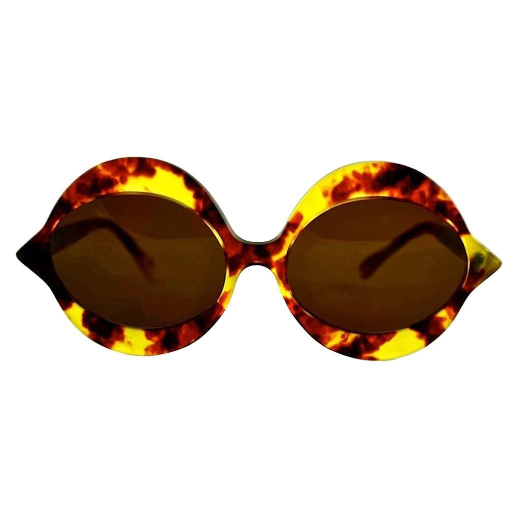 "Vintage 1960s Iconic PIERRE CARDIN ""KISS"" Bright Tortoise Oversized Sunglasses"