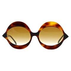 "Vintage 1960s Iconic PIERRE CARDIN ""KISS"" Dark Tortoise Oversized Sunglasses"
