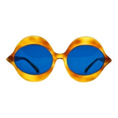"Vintage 1960s Iconic PIERRE CARDIN ""KISS"" Yellow Tortoise Oversized Sunglasses"