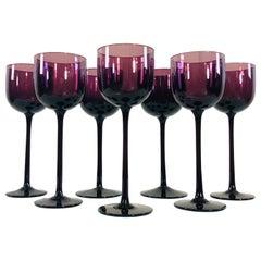 Vintage 1960s Italian Amethyst Tall Wine Stems, Set of 7